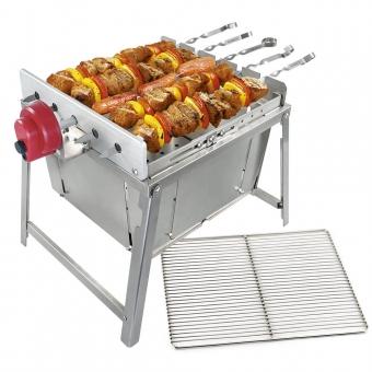 RAMBO TOGO Schaschlik Grill aus Edelstahl, tragbarer kompakt mit Motor