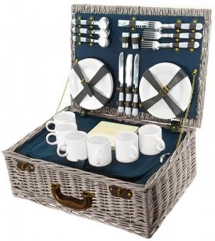 Smak Picknickkorb Luxus mit Geschirr aus Keramik für 6 Personen